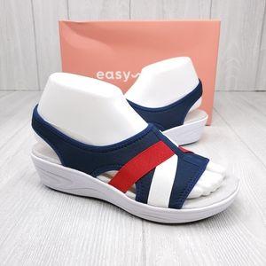 Easy Spirit Red White Blue Sandals 7